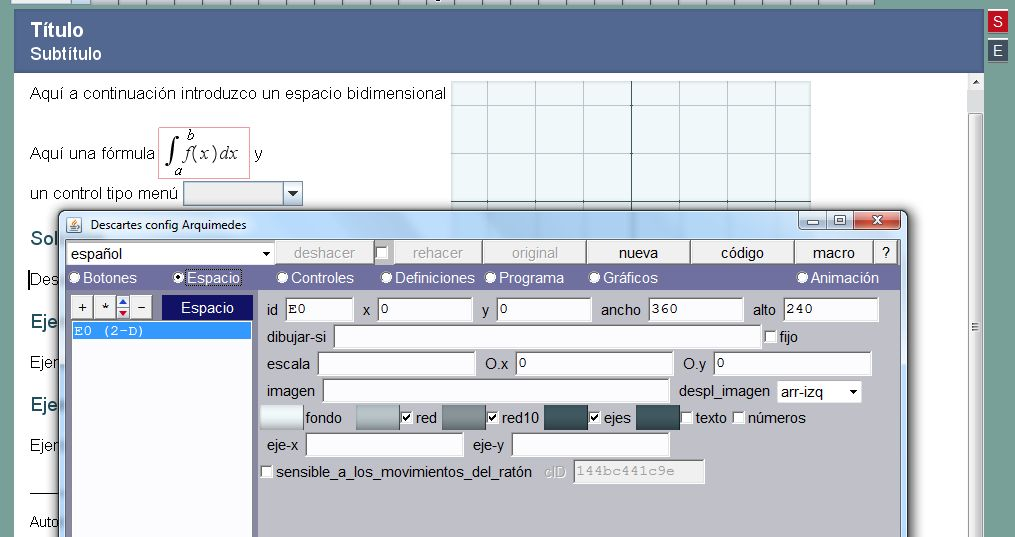 Editor de configuración en un Discurso
