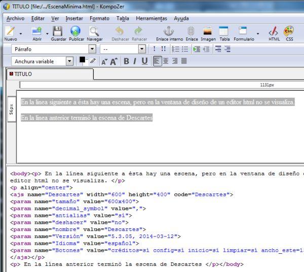 Página abierta con un editor HTML