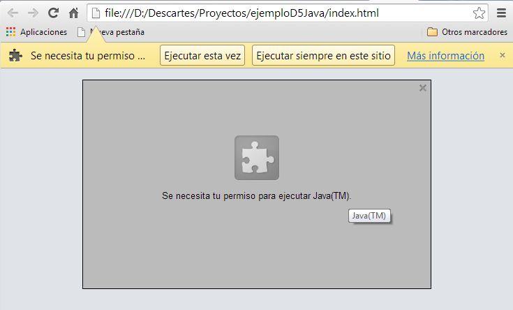 Petición de permiso par ejecutar Java