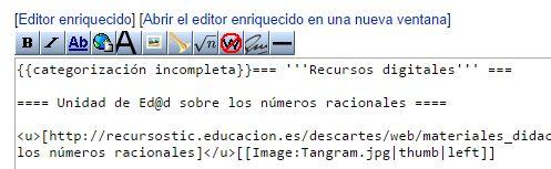 Editor de texto de una wiki