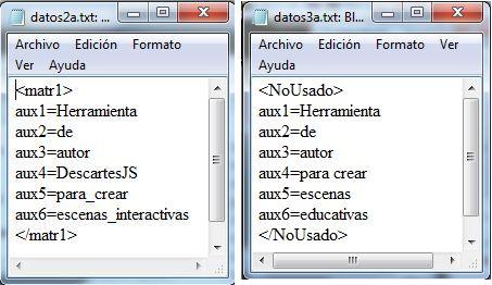 ficheros datos2a.txt y datos3a.txt